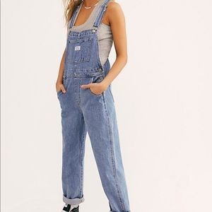 Vintage 90s bum equipment overalls light wash